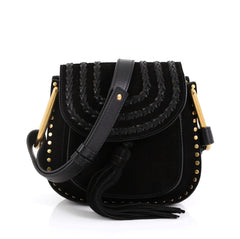 Chloe Hudson Handbag Whipstitch Suede Mini Black 453101