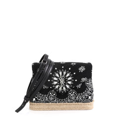 Saint Laurent LouLou Shoulder Bag Printed Canvas with Woven Jute Toy B...
