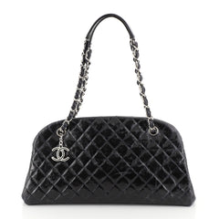 Chanel Just Mademoiselle Bag Quilted Glazed Calfskin Medium Blue 45316106