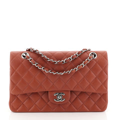 Chanel Classic Double Flap Bag Quilted Caviar Medium Brown 4531622