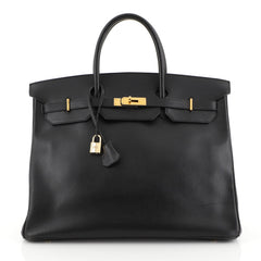 Hermes Birkin Handbag Black Ardennes with Gold Hardware 40 Black 45316...