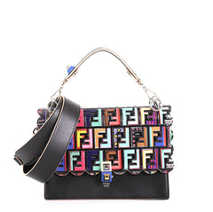 Fendi Kan I Bag Leather with Zucca Embossed Patent Medium Black 453165...
