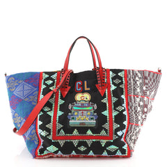 Christian Louboutin Caba Tote World Motif Embroidered Jacquard Large Blue 4531665