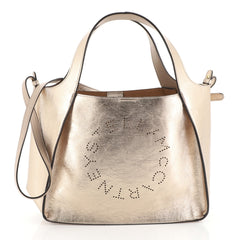 Stella McCartney Alter Tote Perforated Faux Leather Small Metallic 453...
