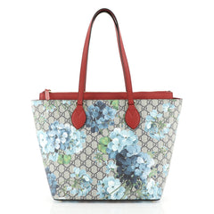 Gucci Linea A Zip Tote Blooms Print GG Coated Canvas Medium Blue 45316...