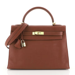 Hermes Kelly Handbag Red Togo with Gold Hardware 32 Red 4531689