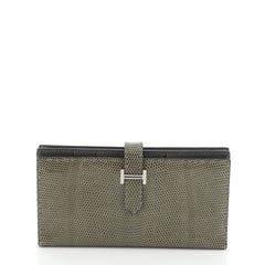 Hermes Bearn Wallet Lizard Long Gray 4531692