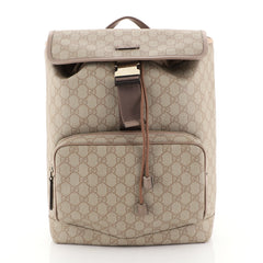 Gucci Buckle Backpack GG Coated Canvas Medium Brown 453169