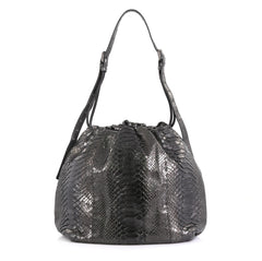 Bottega Veneta Drawstring Hobo Python Large Gray 453191