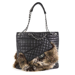 Chanel Karl's Fantasy Cabas Tote Fur and Quilted Leather Black 453196