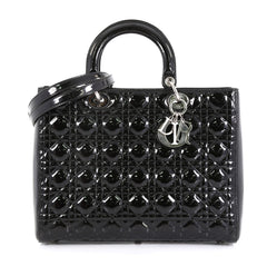 Christian Dior Lady Dior Handbag Cannage Quilt Patent Large Black 4532...