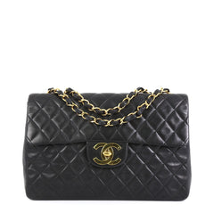 Chanel Vintage Classic Single Flap Bag Quilted Lambskin Maxi Black 453221