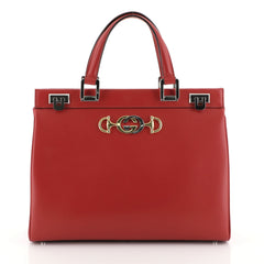 Gucci Zumi Top Handle Bag Leather Medium Red 453231