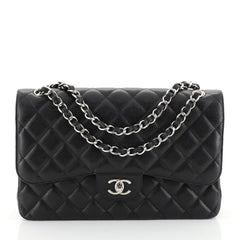 Chanel Classic Double Flap Bag Quilted Caviar Jumbo Black 453605