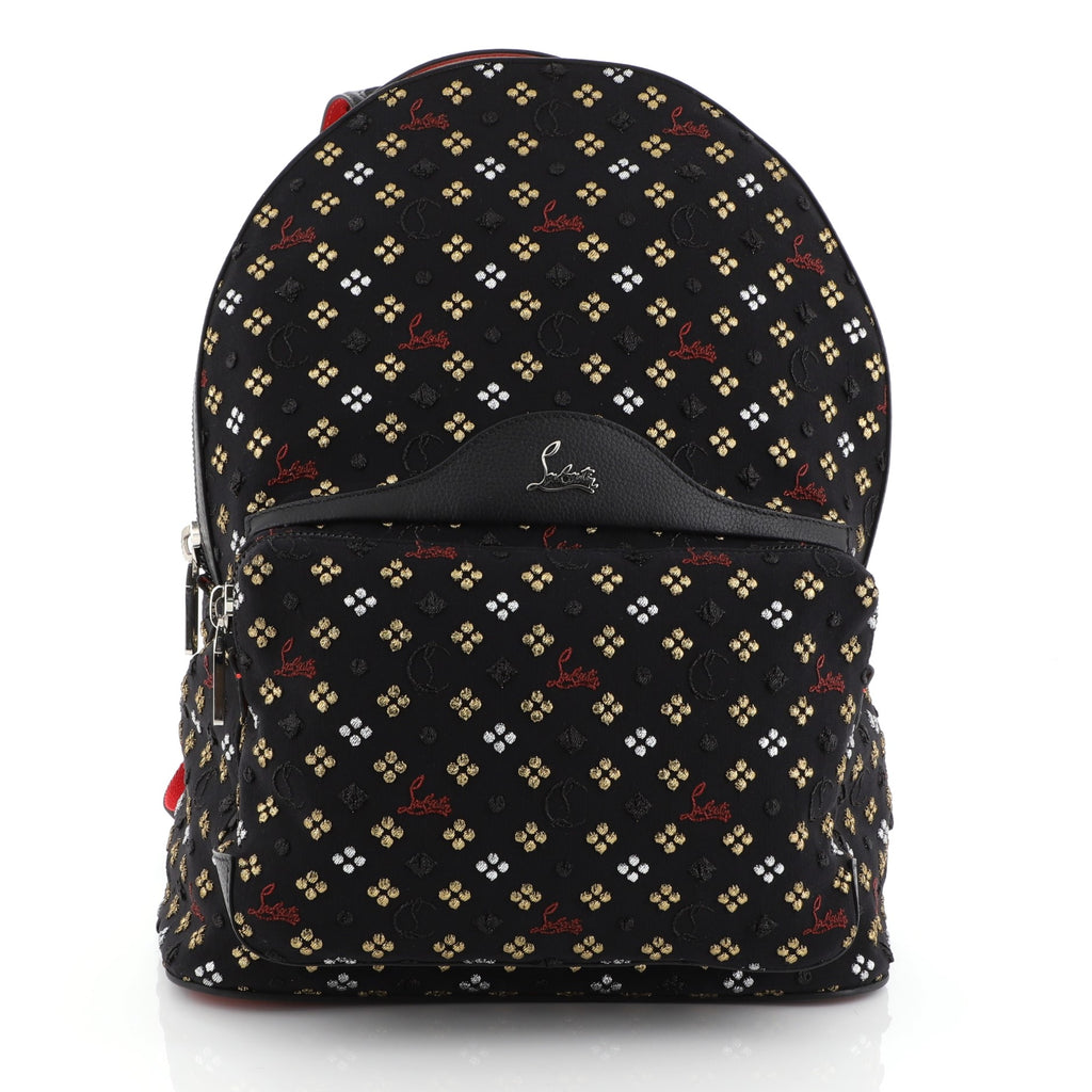 7af0488541e Christian Louboutin Backloubi Backpack Embroidered Canvas Small Black 453681
