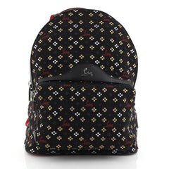 Christian Louboutin Backloubi Backpack Embroidered Canvas Small Black 453681