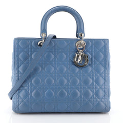 Christian Dior Lady Dior Handbag Cannage Quilt Lambskin Large Blue 453702