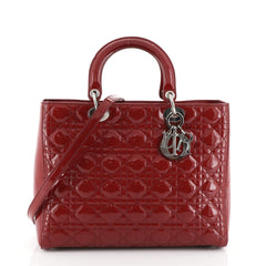 Christian Dior Lady Dior Handbag Cannage Quilt Patent Large Red 453703