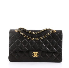 Chanel Vintage Classic Double Flap Bag Quilted Lambskin Medium Black 453734