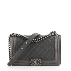 Chanel Boy Flap Bag Quilted Goatskin with Patent Old Medium Gray 453737