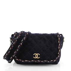 Chanel Parisian Stroll Messenger Bag Quilted Velvet Wool Medium Blue 4537520