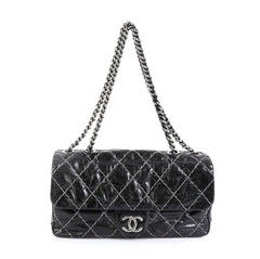 Chanel Double Stitch Flap Bag Quilted Glazed Calfskin Medium Black 4537523