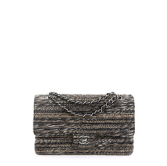 Chanel Vintage Classic Double Flap Bag Quilted Tweed Medium Black 4537524