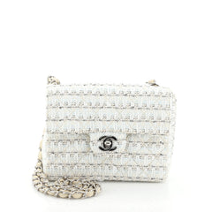 Chanel Vintage Chain Handle Flap Bag Quilted Tweed Mini White 4537528