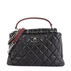 Chanel Portobello Top Handle Bag Quilted Aged Calfskin and Tweed Large Black 4537532