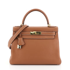 Hermes Kelly Handbag Brown Clemence with Gold Hardware 28