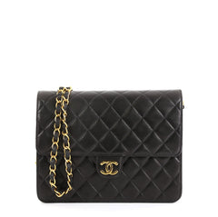 Chanel Vintage Clutch with Chain Quilted Leather Small Black 453759