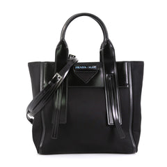 Prada Ouverture Tote Tessuto with Leather Small Black 4537715