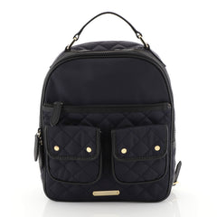 Burberry Double Pocket Backpack Quilted Nylon Medium Blue 4537716