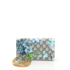 Gucci Chain Wallet Blooms Print GG Coated Canvas Brown 4537723
