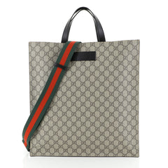 Gucci Convertible Soft Open Tote GG Coated Canvas Tall Brown 453774