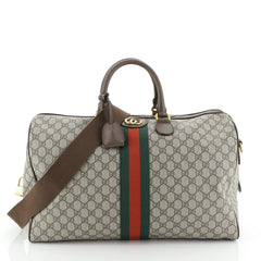 Gucci Ophidia Carry On Duffle Bag GG Coated Canvas Large Brown 453775