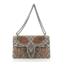 Gucci Dionysus Bag Embroidered GG Coated Canvas with Python Small Neutral 453801