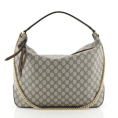 Gucci Chain Hobo GG Coated Canvas Large Brown 453817