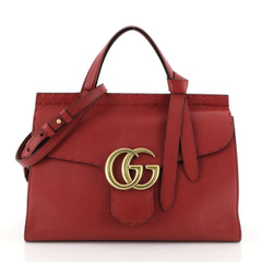 Gucci GG Marmont Top Handle Bag Leather Small Red 453911