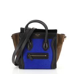 Celine Tricolor Luggage Handbag Pony Hair and Leather Nano Black 4539610