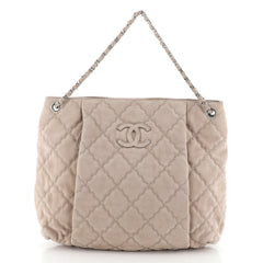 Chanel Double Stitch Hamptons Shoulder Bag Quilted Nubuck Large