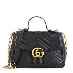 Gucci GG Marmont Top Handle Flap Bag Matelasse Leather Small Black 4539711