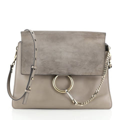 Faye Shoulder Bag Leather and Suede Medium