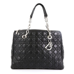 Christian Dior Soft Zipped Shopping Tote Cannage Quilt Lambskin Large Black 454051