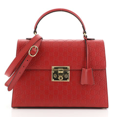 Gucci Padlock Top Handle Bag Guccissima Leather Medium Red 454054
