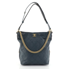 Chanel Button Up Hobo Quilted Calfskin with Grosgrain Large Blue 454171