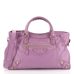 Balenciaga City Giant Studs Bag Leather Medium Purple 454224
