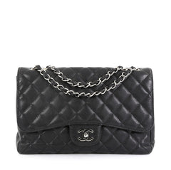 Chanel Vintage Classic Single Flap Bag Quilted Caviar Jumbo Black 454261