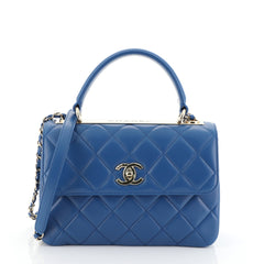 Chanel Trendy CC Top Handle Bag Quilted Lambskin Small Blue 45427117