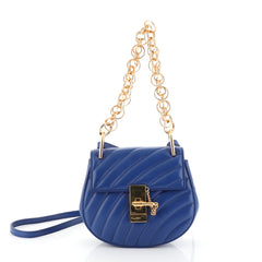 Chloe Drew Bijou Crossbody Bag Quilted Leather Mini Blue 45427128